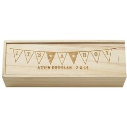 Personalized It's a Boy Wooden Wine Box
