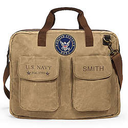US Navy Personalized Canvas Messenger Tote Bag