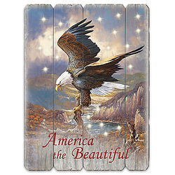 America the Beautiful Eagle with Lights on a Wood Wall Sign
