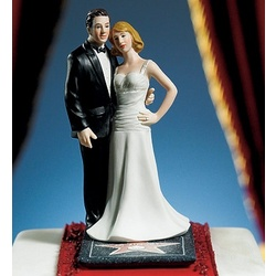 Hollywood Glamour Couple Stars for a Day Wedding Cake Topper