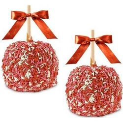 Two Valentine Sprinkle Caramel Apples