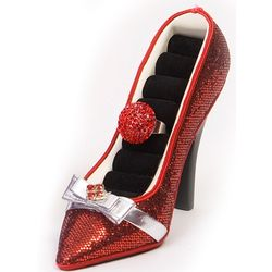 Red Sequined High Heel Shoe Ring Organizer