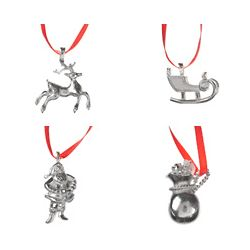Christmas Cheer Pewter Ornament Set