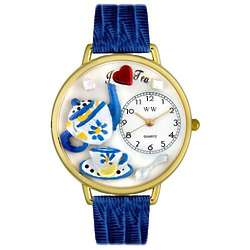 Tea Lover Watch with Royal Blue Leather Band