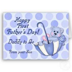Blue Umbrella Father to Be Father's Day Card