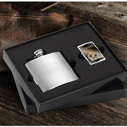 New Orleans Saints Zippo Lighter and Personalized Flask Gift Set