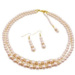 Back Drop Down Double Stranded Ivory Pearls Jewelry Set