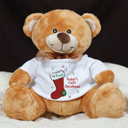 Personalized Baby's First Christmas Teddy Bear