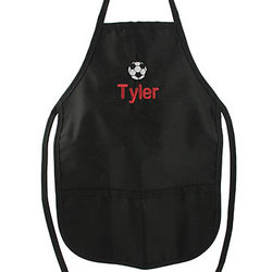 Kid's Personalized Solid Black Soccer Apron