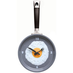 Grey Frying Pan Clock with Egg Face