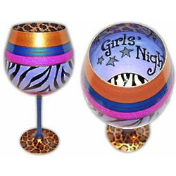 Girl's Night Out Hand Painted Reverz-Art Wine Glass