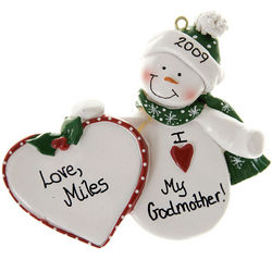 Personalized Godmother Snowman Christmas Ornament