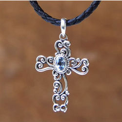 Balinese Cross Topaz Necklace