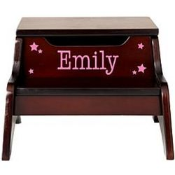 Espresso Step N Stool with Magenta Personalization