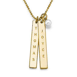 Engraved Gold-Plated Name Tag Necklace with Freshwater Pearl