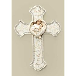 Baby in Angel Wings Wall Cross