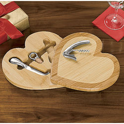 Heart-Shaped Bamboo Cutting Board with Tools