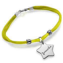 Girl's Personalized Star Bracelet in Sterling Silver