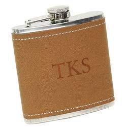 Tan-Hide Stitched Flask