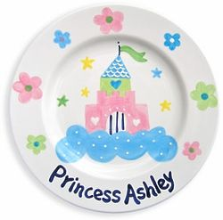 Castle & Flowers Personalized Baby Plate