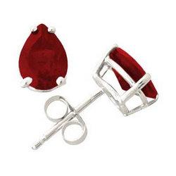 Pear Shape Ruby Earrings Set in 14k White Gold