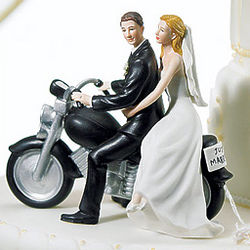 Motorcycle Get Away Wedding Couple Cake Topper