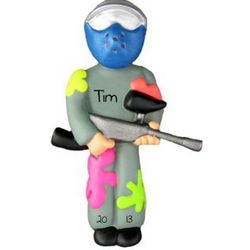 Paintball Player Personalized Christmas Ornament