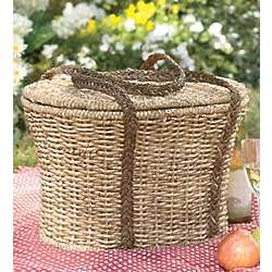 Woven Picnic Basket with Tray Lid