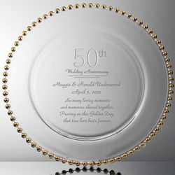 Golden Point Personalized 50th Anniversary Crystal Plate