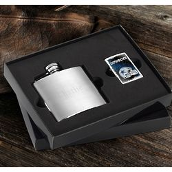 Dallas Cowboys Zippo Lighter and Personalized Flask Gift Set