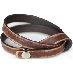 Daring in Brown Distressed Leather Wrap Bracelet