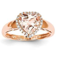 14K Rose Gold Diamond and Morganite Heart Ring