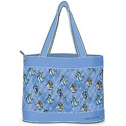 Quilted Wolf Art Tote Bag with Matching Cosmetic Cases