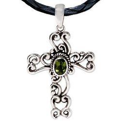 Balinese Cross Peridot Necklace