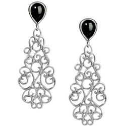 American West Black Onyx Spanish Filigree Drop Earrings