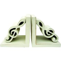 Antique White Treble Clef Bookends