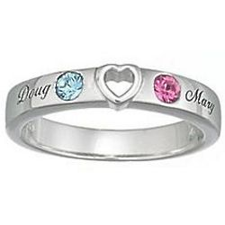 Personalized Couple Heart Name and Birthstone Ring
