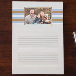 Classy Stripes Personalized One Photo Notepad