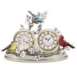 Nature's Timeless Moments Songbird Desktop Clock & Barometer