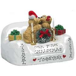 Personalized Kissing Couple Bears 1st Christmas Together