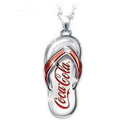 Coca-Cola® Diamond Flip Flop Engraved Pendant Necklace