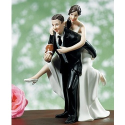 Playful Football Wedding Couple Cake Topper