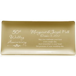 50th Wedding Anniversary Personalized Gold Tray