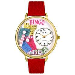 Bingo Watch with Red Leather Band