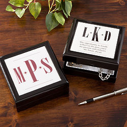 Monogrammed Wood Keepsake Box