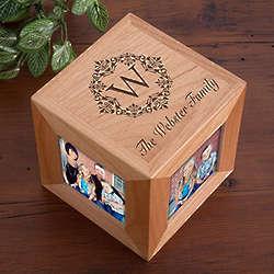 Personalized Damask Family Monogram Photo Cube