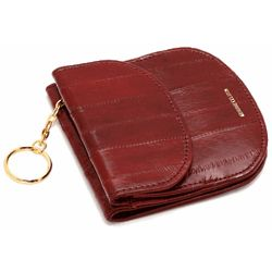 Eel Skin Snap Closing Travel Wallet with Change Pouch