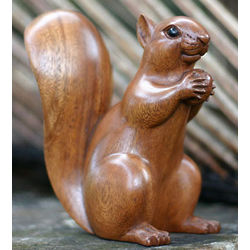 Squirrel with an Acorn Wood Sculpture