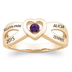 Personalized Birthstone Heart Gold-Plated Crossover Class Ring