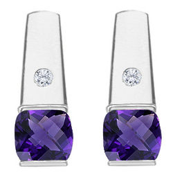 Diamond and Amethyst Earrings in 14 Karat White Gold